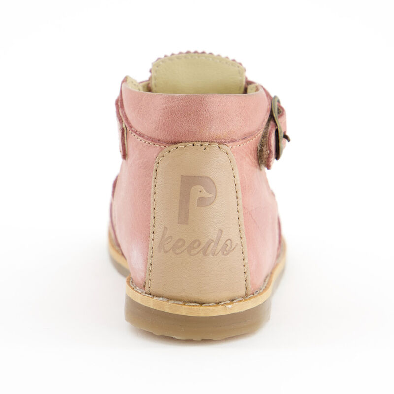 Little P Girls Blush T-Bar Leather Shoes -  c36