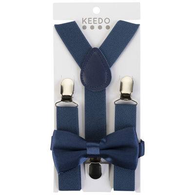 Boys Navy Suspender and Bow Tie Set