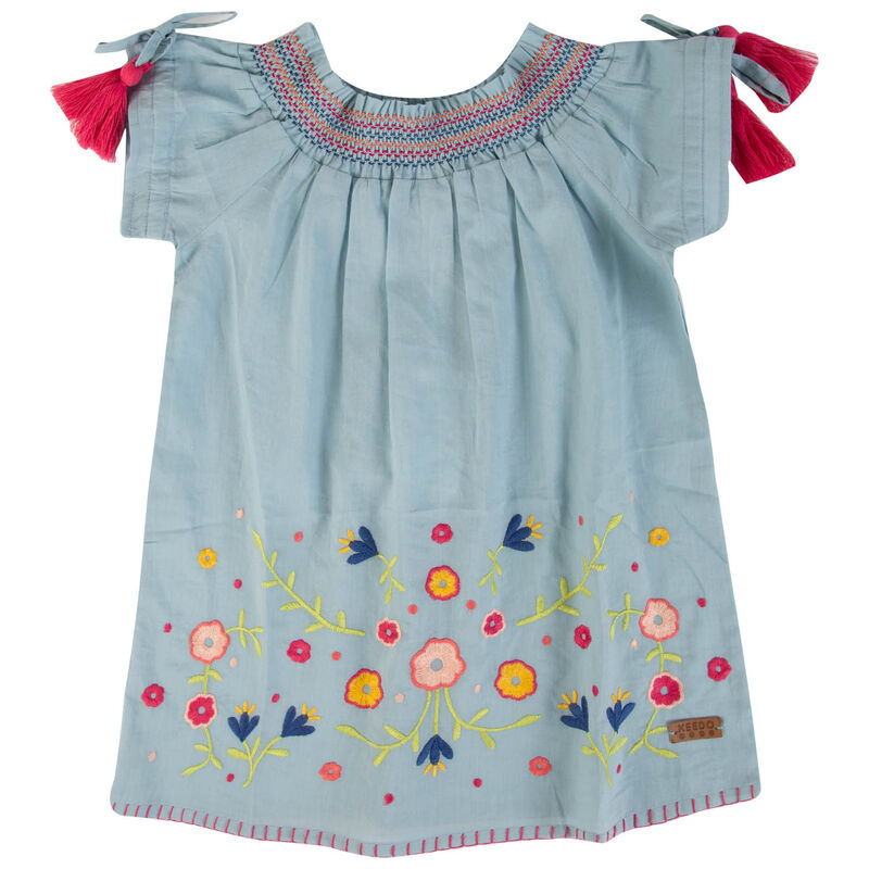 Baby Girls Harmony Tassel Dress -  lightblue