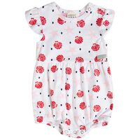 Baby Girls Pansy Frilly Romper -  white
