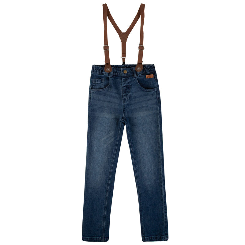 Boys Scott Suspender Jeans -  midblue