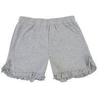 Girls Grey Melange Frilly Shorts -  lightgrey