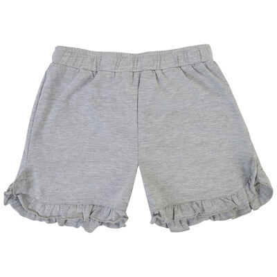Girls Grey Melange Frilly Shorts