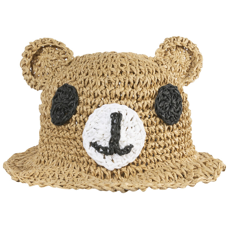 Girls Bear Straw Floppy Hat -  oatmeal