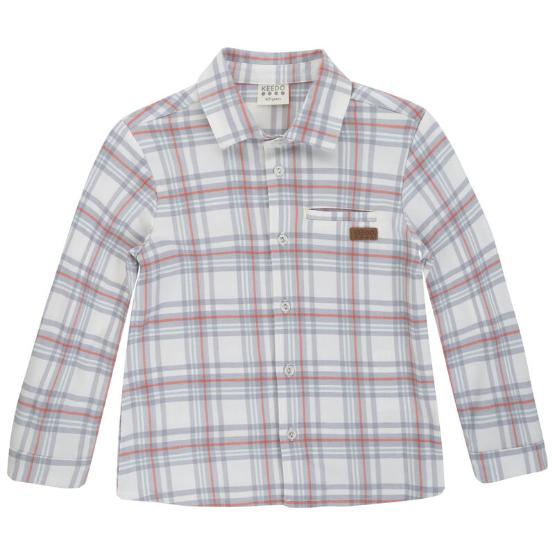 Boys Hudson Check Shirt -  white