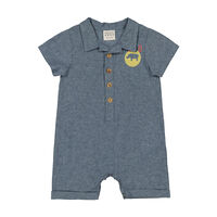 Baby Boys Safari Romper -  midblue