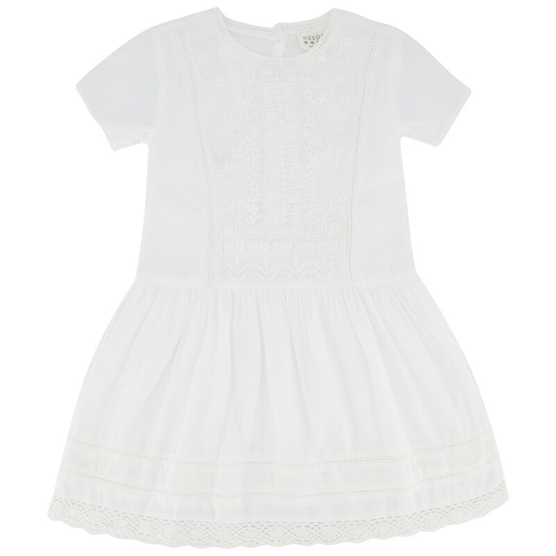 Girls Katie Anglaise Dress -  white