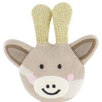 Giraffe Rattle with Wooden Ring -  cream
