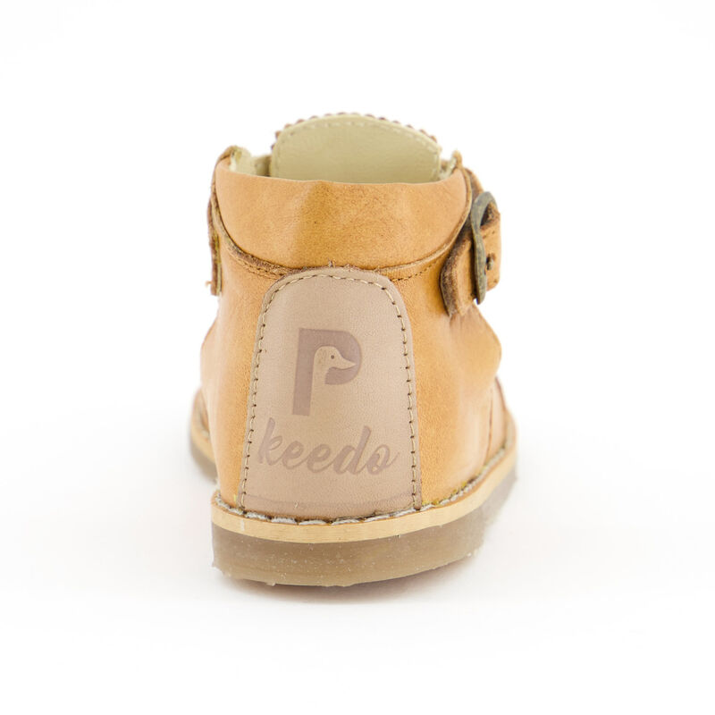 Little P Girls Toffee T-Bar Leather Shoes -  c15