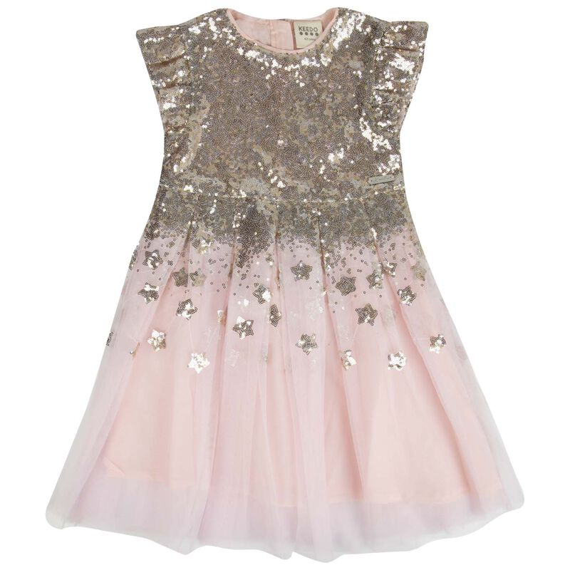 Girls Cleo Sequin Dress -  lightpink