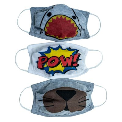 Boys Fabric 2-Layer Face Mask Fun 3-Pack