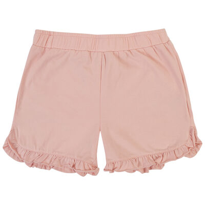 Girls Peach Frilly Shorts