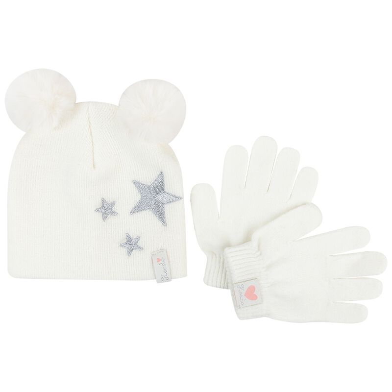 Baby Girls Maya Beanie & Glove Set -  milk