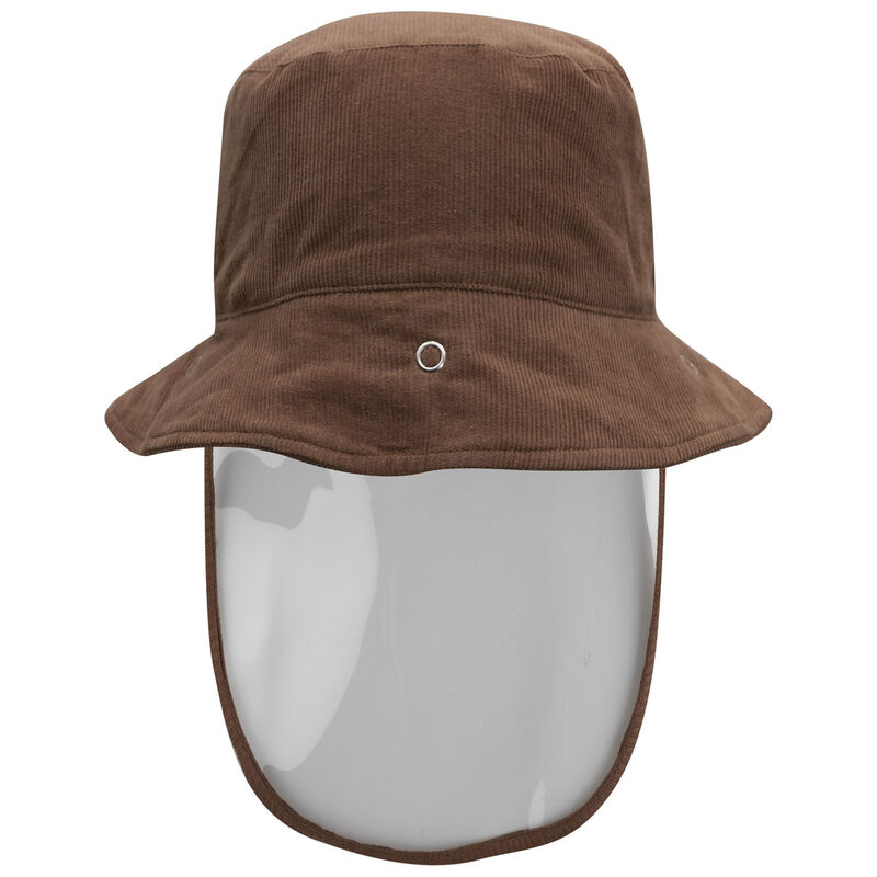 Kids Protective Brown Corduroy Bucket Hat -  tan