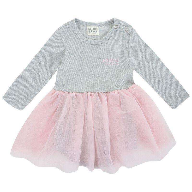Baby Girls Olive Tutu Dress -  lightgrey